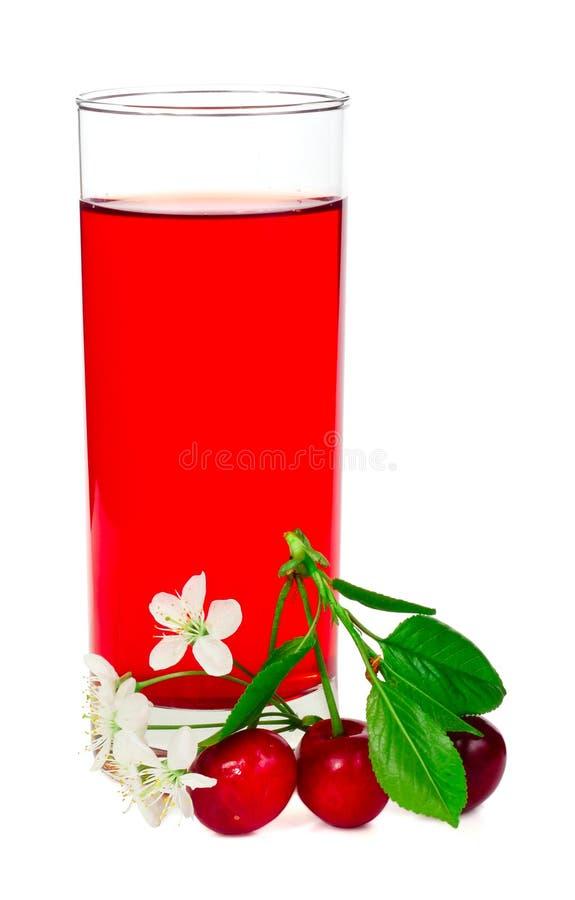 Suco com folhas e flores das cerejas fotos de stock