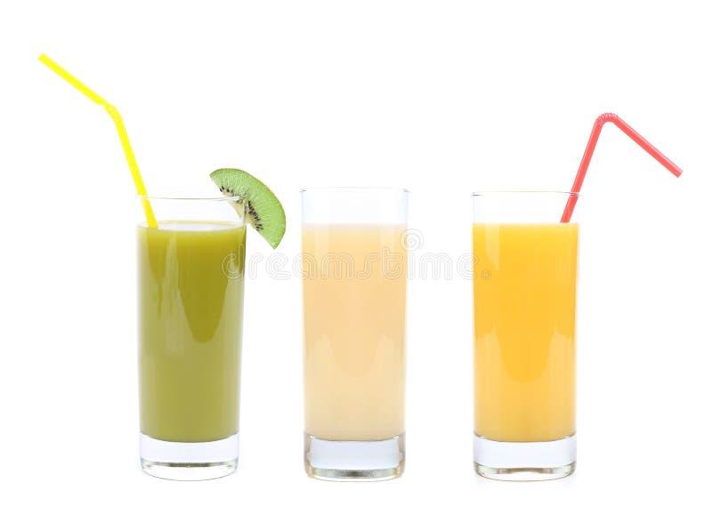 Suco da laranja, do quivi e da banana imagens de stock