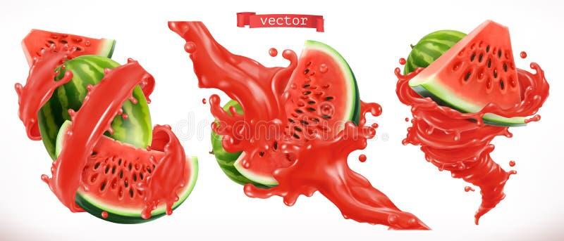 Suco da melancia Ícone do vetor do fruto fresco 3d ilustração royalty free