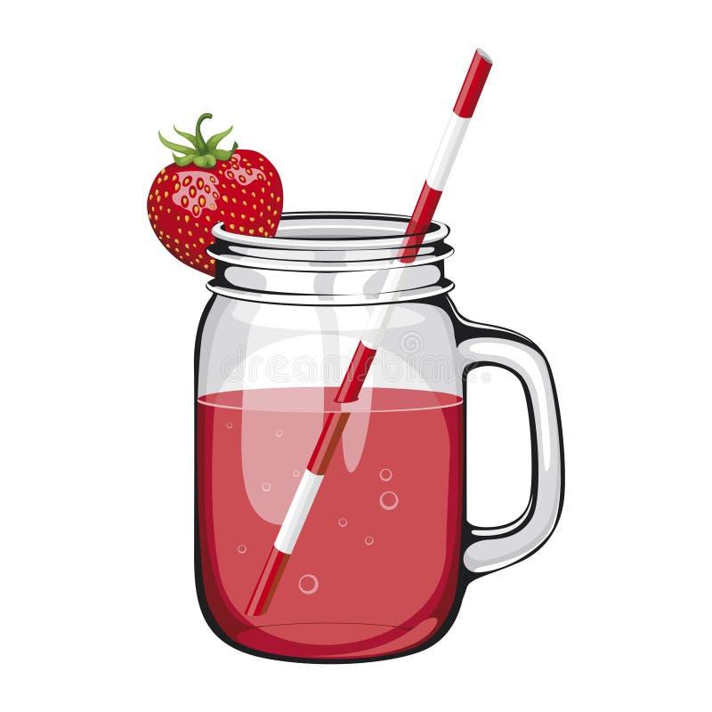 Suco da morango, batido, em um frasco de pedreiro com uma palha ilustração do vetor