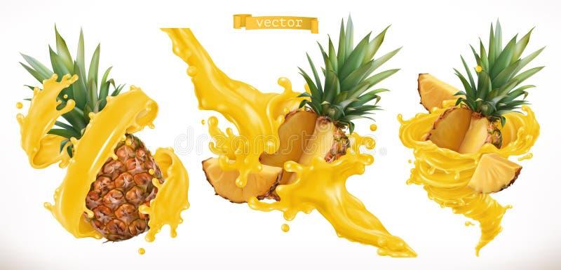 Suco de abacaxi Ícone do vetor do fruto fresco 3d ilustração stock