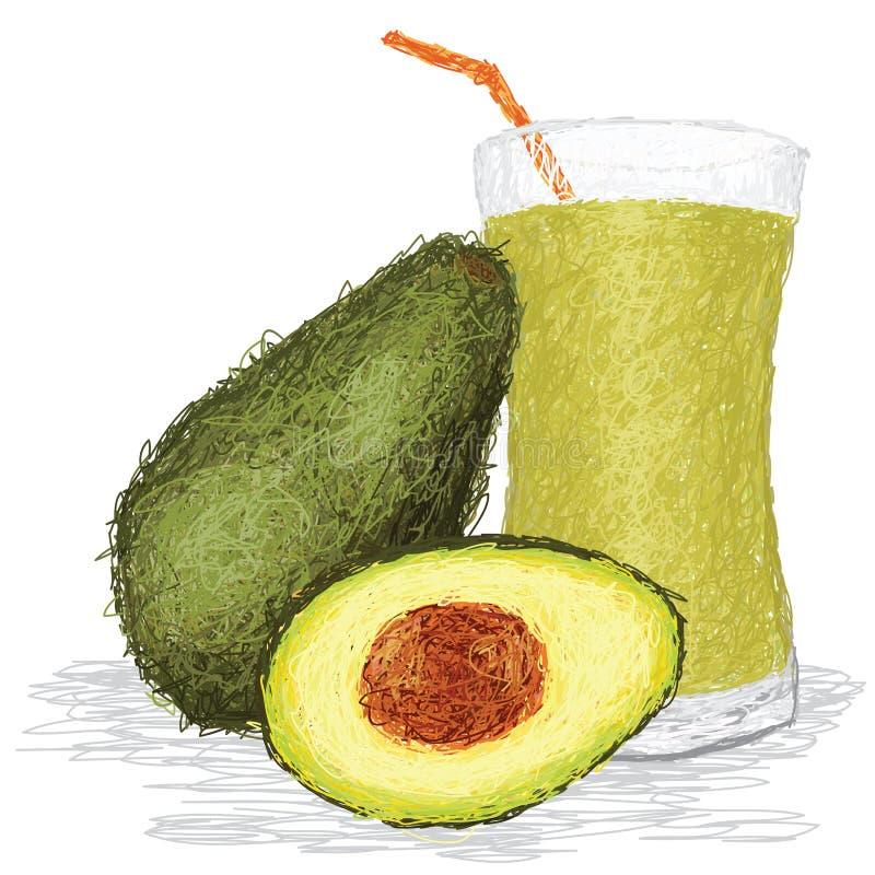 Suco de fruta do abacate ilustração do vetor
