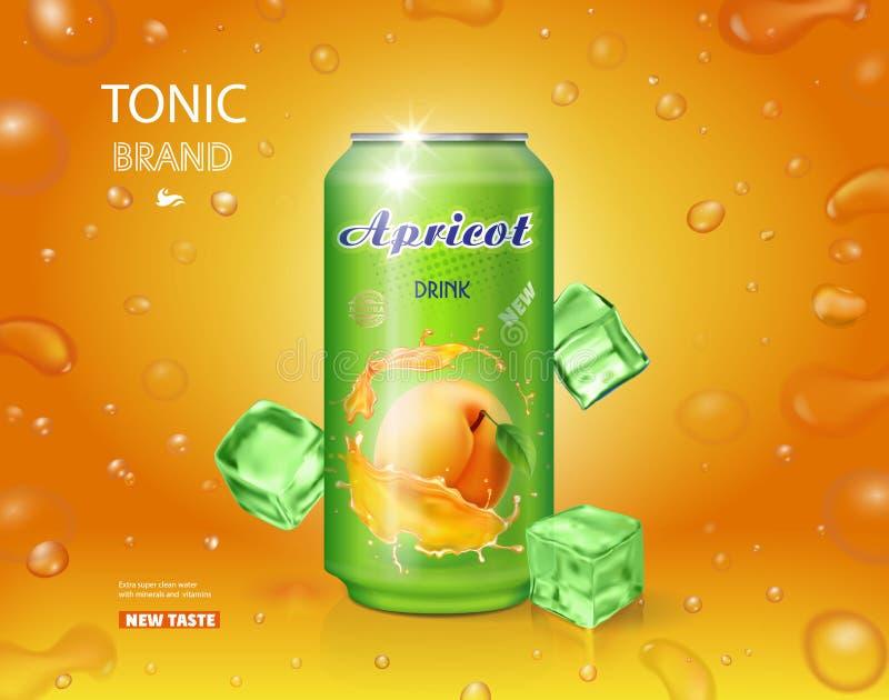 Suco de fruta do abricó em um projeto do cartaz da propaganda da lata com bolhas ilustração do vetor