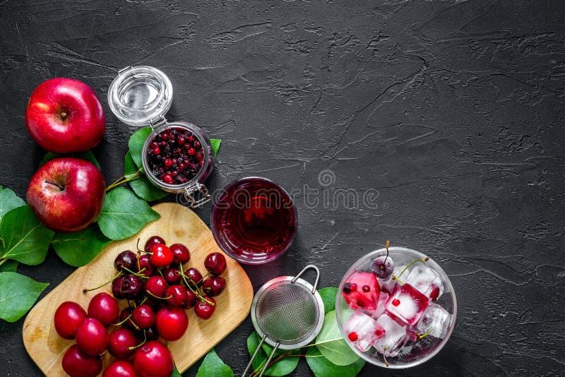 Suco de fruta do gelo do verão com maçã, pulm e arando no copyspace preto da opinião de tampo da mesa imagem de stock royalty free