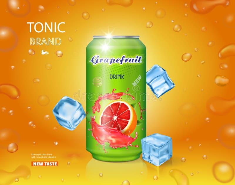 Suco de fruta de lata do suco de toranja ilustração do vetor