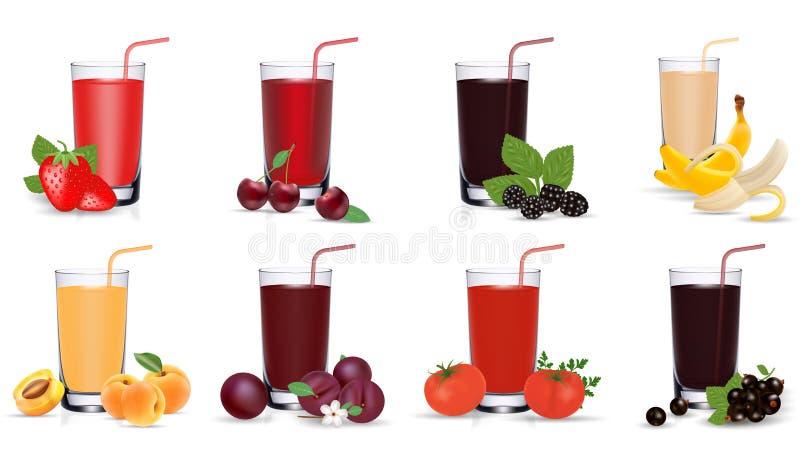 Suco de frutas e legumes fresco no vidro Jogo de ?cones do vetor Eps 10 ilustração royalty free