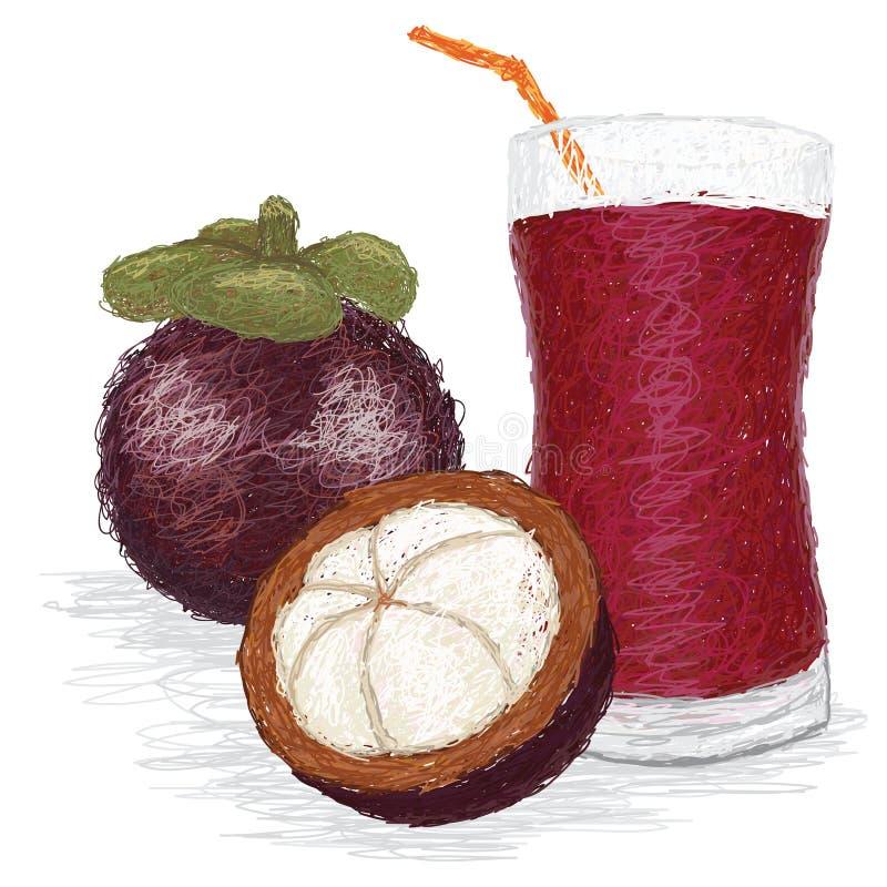 Suco de fruto do mangustão ilustração stock