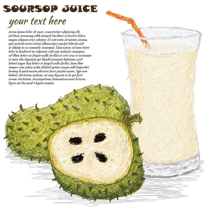 Suco de fruto do Soursop ilustração do vetor