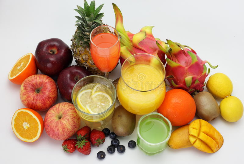 Suco de fruto e fruto imagem de stock