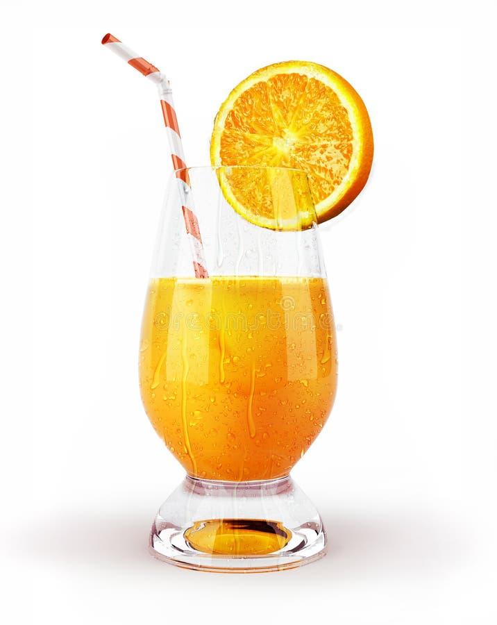 Suco de laranja em um vidro com palha e fatia. imagem de stock
