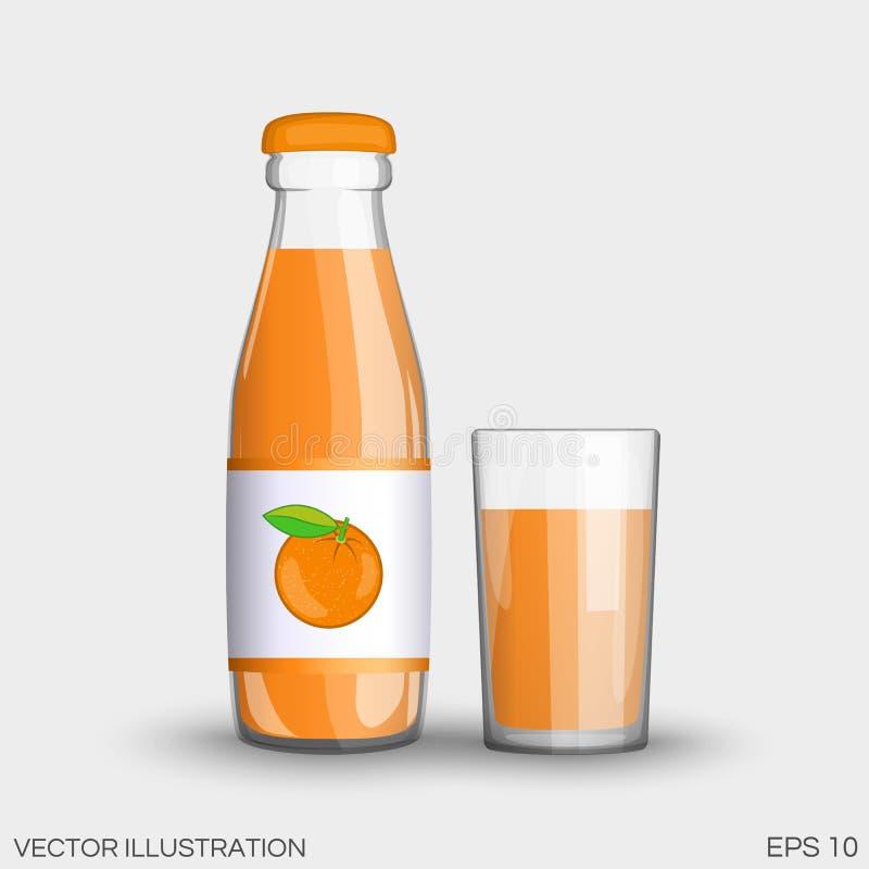 Suco de laranja em uma garrafa de vidro transparente isolada ilustração do vetor