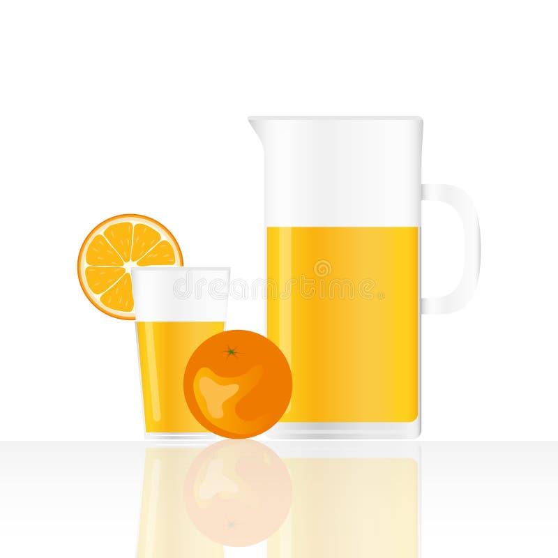 Suco de laranja, vidro realístico e um jarro de suco de laranja ilustração royalty free