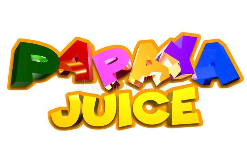 Suco de papaia 3D ilustração stock