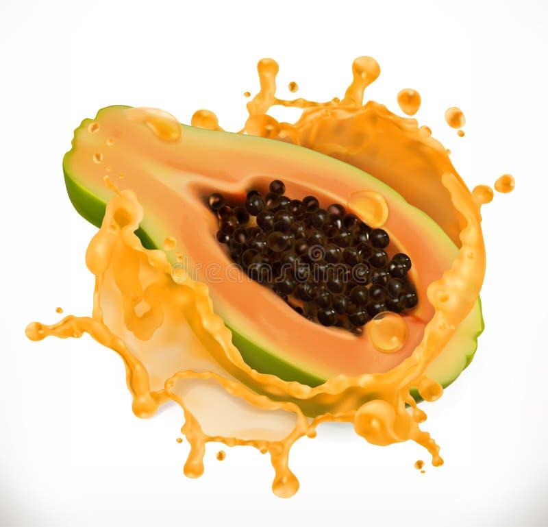 Suco de papaia Fruto fresco, ícone do vetor ilustração do vetor