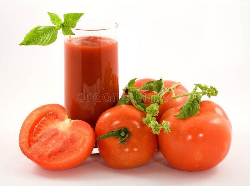 Suco de tomate imagens de stock