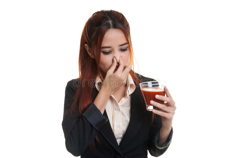 Suco de tomate asiático novo do ódio da mulher de negócio fotos de stock