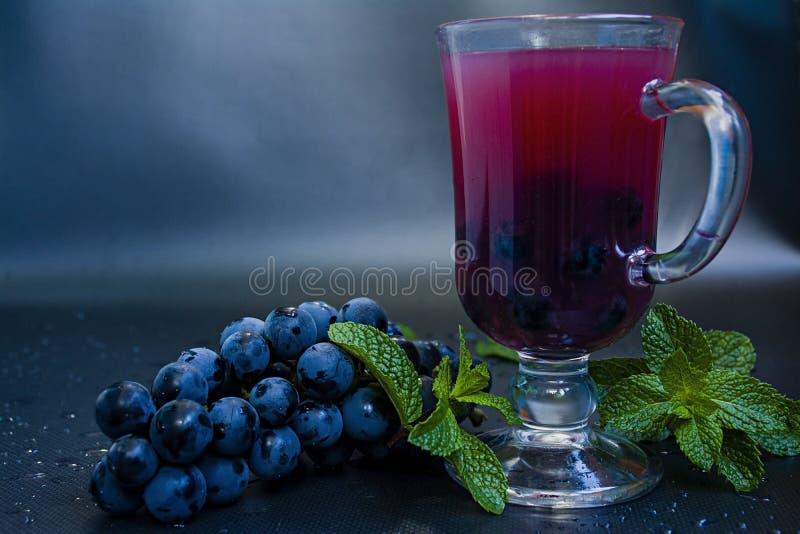 Suco de uva vermelha nos frutos do vidro e da uva isolados no fundo escuro imagem de stock royalty free