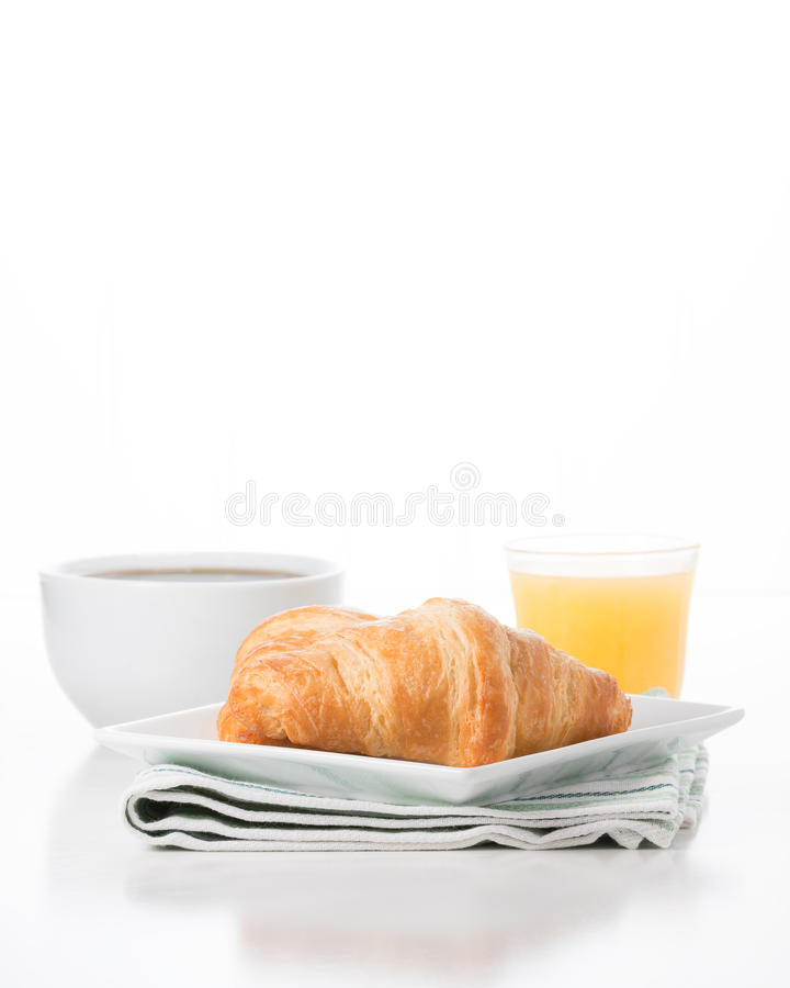 Suco do café do croissant fotografia de stock royalty free