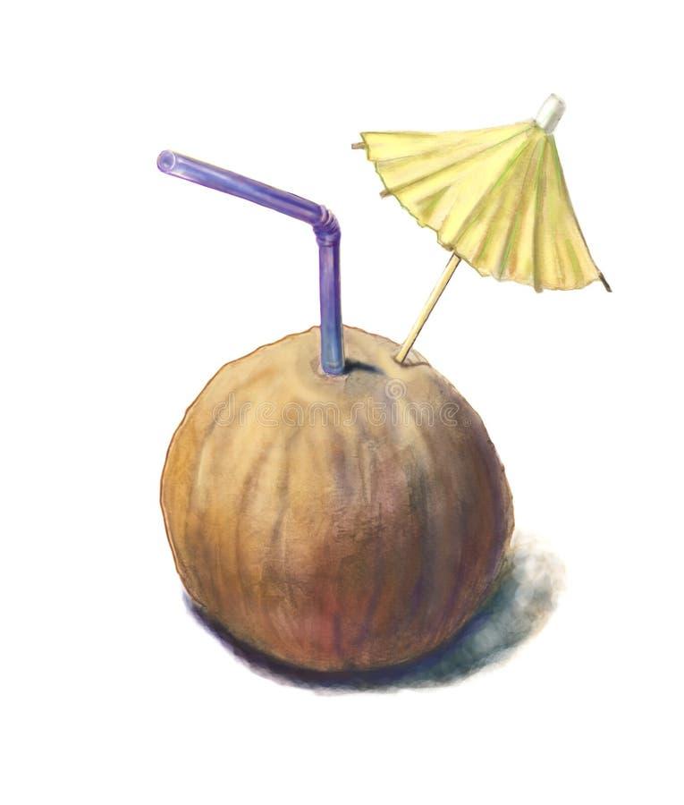 Suco do coco Coco pintado aquarela com uma palha ilustração royalty free