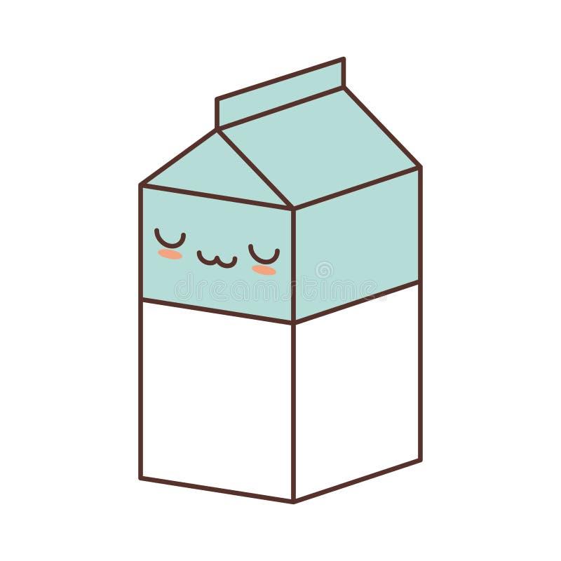 suco do leite da caixa da caixa do kawaii ilustração royalty free