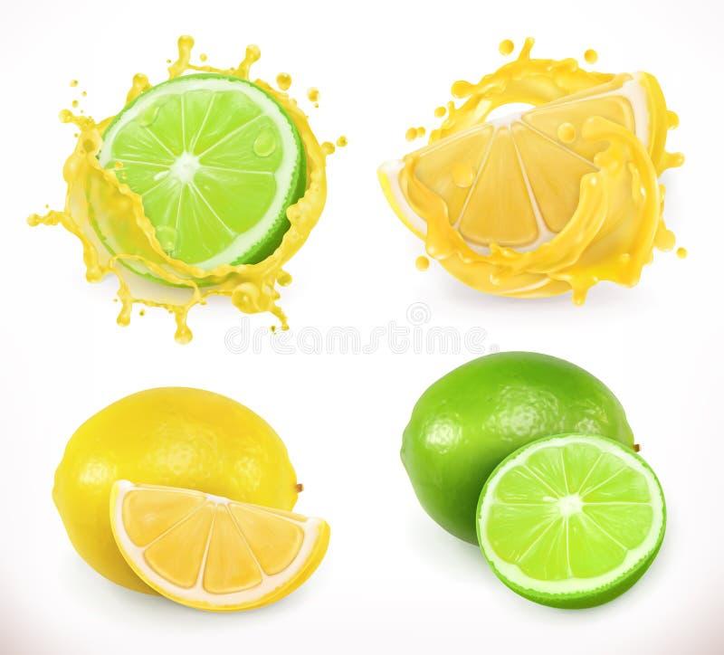 Suco do limão e da lima Fruto fresco, ícone do vetor ilustração stock