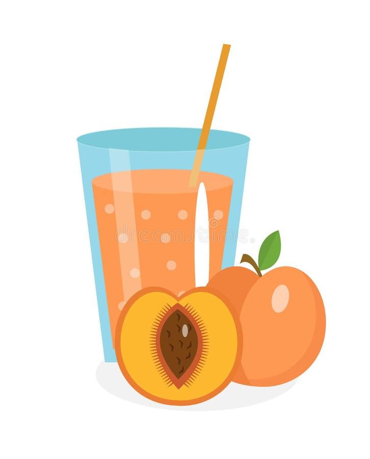 Suco do pêssego em um vidro Fresco isolado no fundo branco fruto e ícone ilustração stock