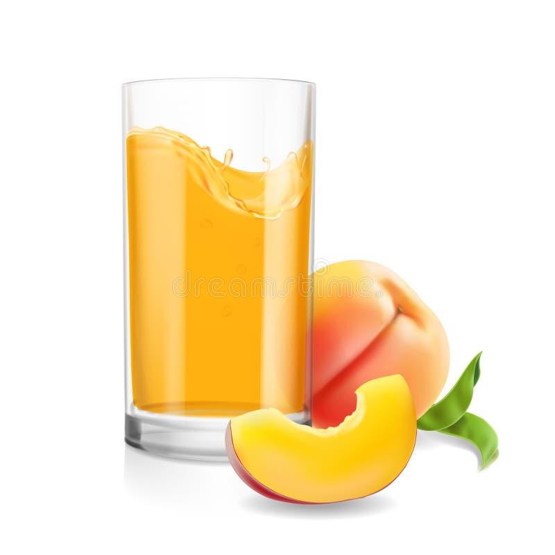 Suco do pêssego no vidro Vetor realístico da bebida fresca do fruto tropical ilustração do vetor
