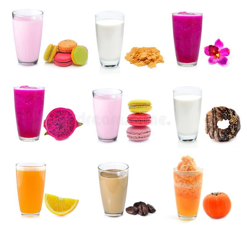 Suco e leite da coleção imagem de stock
