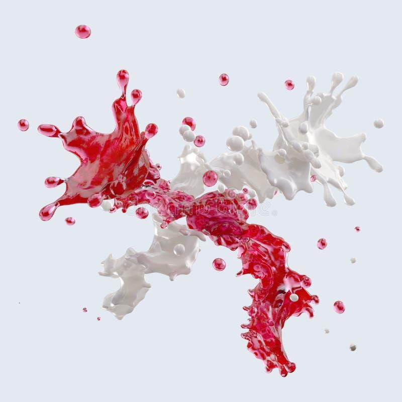Suco e leite que espirram com as gotas ilustração 3D ilustração royalty free