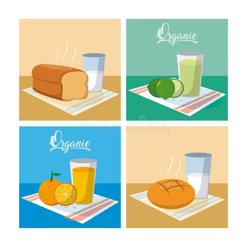 Suco e pão de fruto com desenhos animados do leite ilustração stock