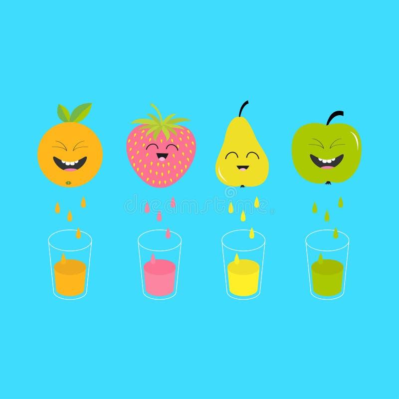 Suco e vidros frescos Apple, morango, pera, fruto alaranjado com caras ilustração royalty free