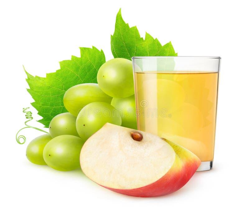 Suco isolado da uva e da maçã imagem de stock