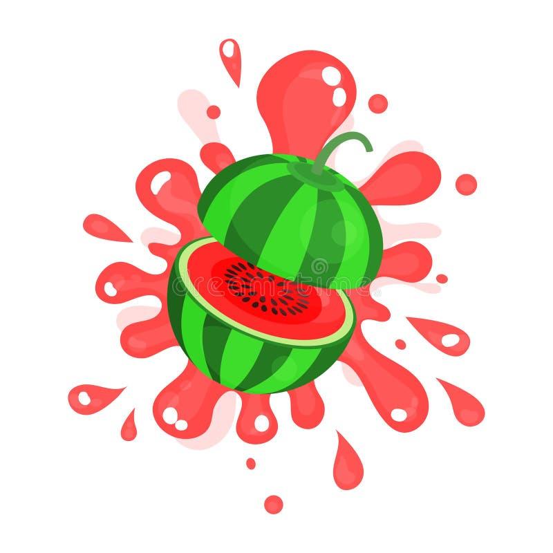 Suco maduro cortado que espirra, ilustração suculenta fresca colorida da melancia do fruto ilustração stock