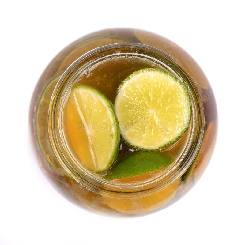 Suco, mel e limão da salmoura fotos de stock royalty free