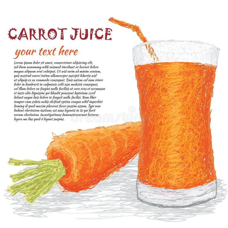 Suco vegetal da cenoura ilustração royalty free