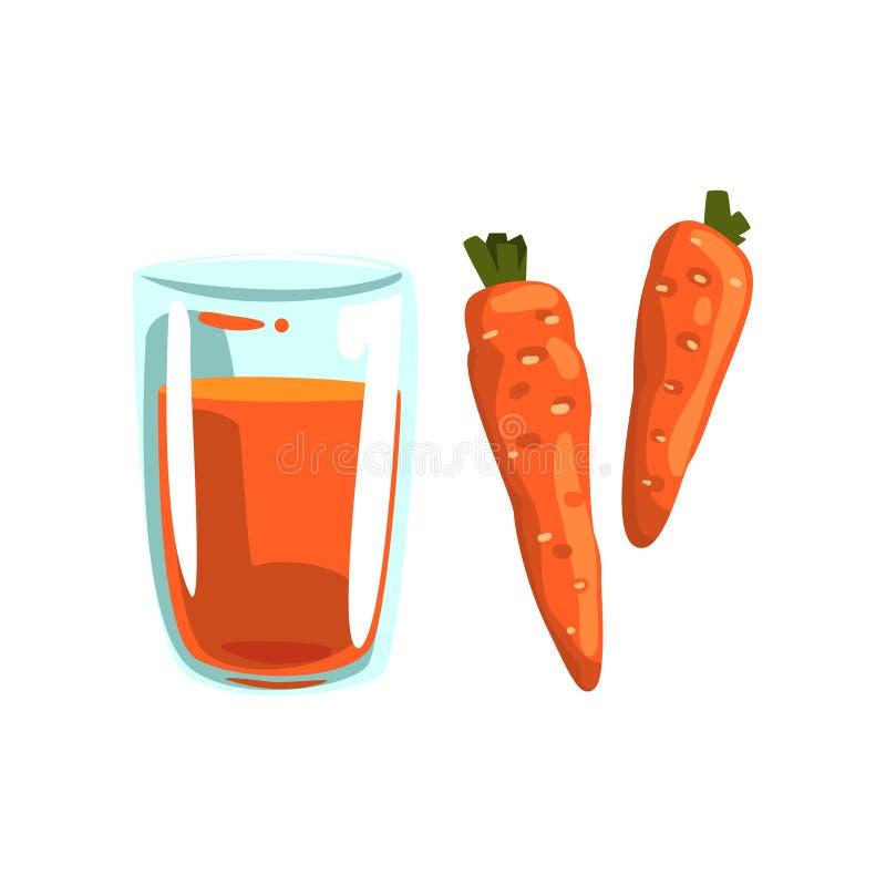 Suco vegetal da cenoura, vidro da bebida natural do vegetariano, ilustração saudável do vetor do alimento biológico em um branco ilustração do vetor