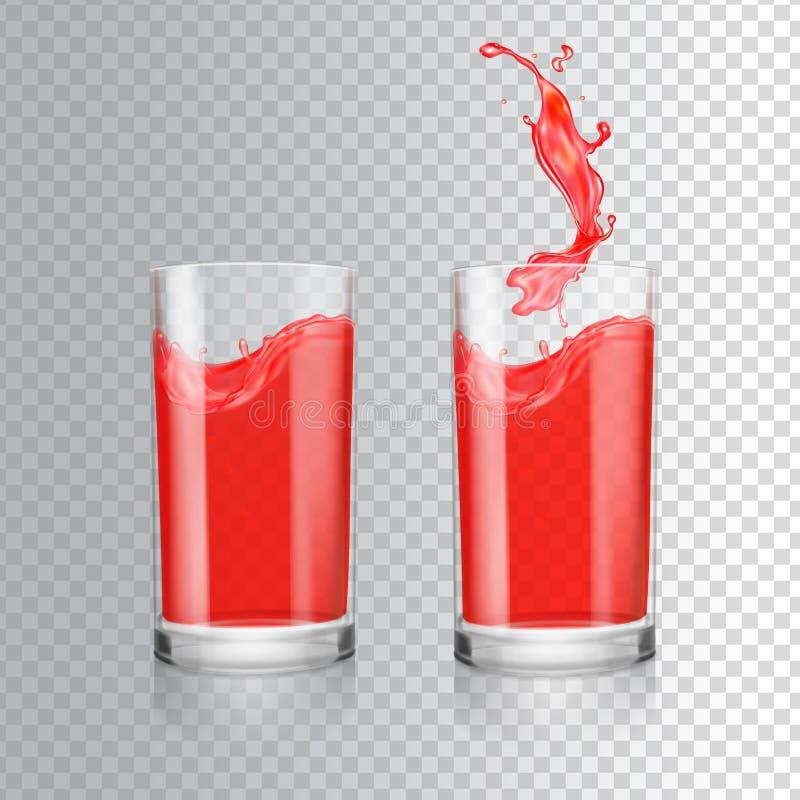 Suco vermelho no vidro Toranja, arando, framboesa, suco fresco da cereja ilustração royalty free