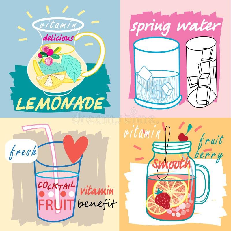 Sucos de fruta diferentes ilustração do vetor
