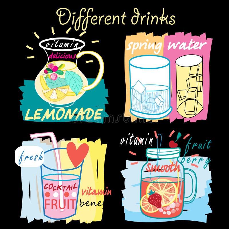 Sucos de fruta diferentes ilustração royalty free