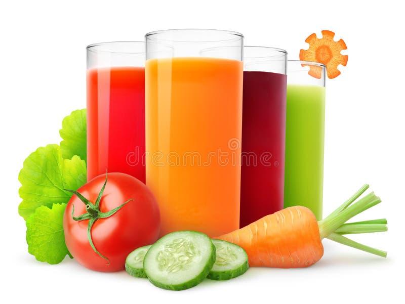 Sucos do legume fresco fotografia de stock