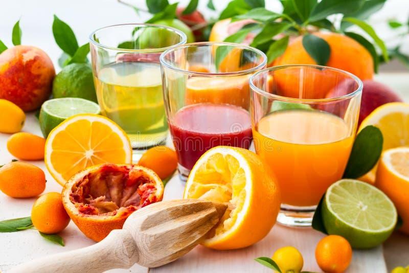 Sucos frescos do citrino foto de stock