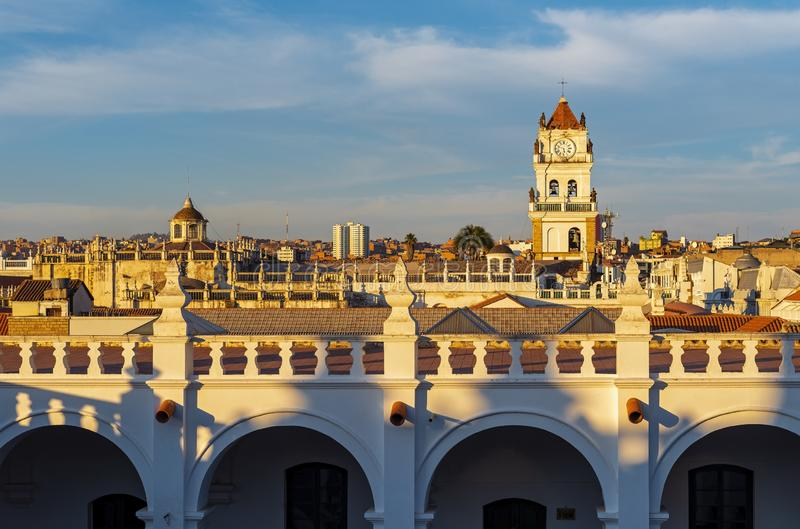 Sucre Cityscape at Sunset, Bolivia stock images
