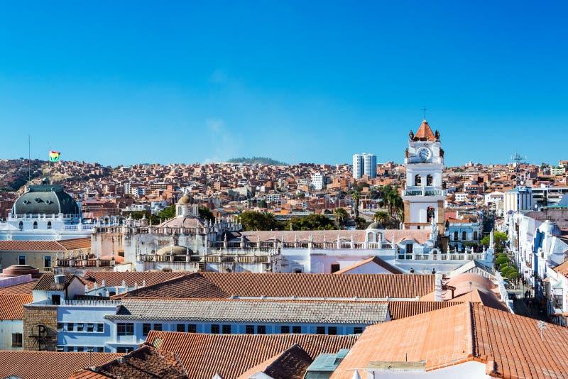 Sucre, Cityscape van Bolivië stock foto