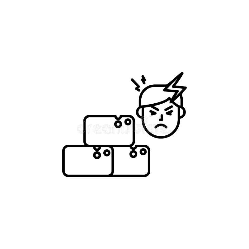 Sucre, icône allergique de visage Élément des problèmes avec l'icône d'allergies Ligne mince icône pour la conception de site Web illustration de vecteur