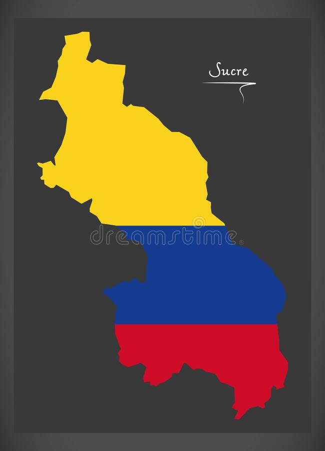 Sucre Map Of Colombia With Colombian National Flag Illustration