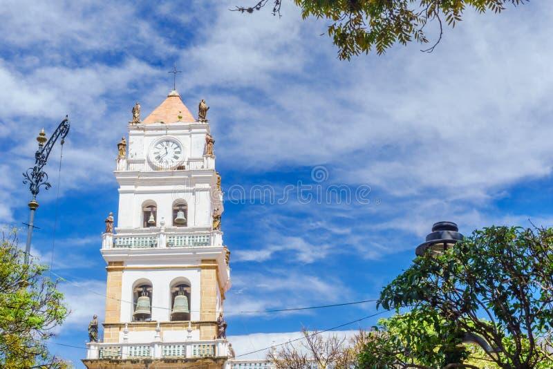 Sucre Metropolitaanse Kathedraal - Sucre Bolivië stock afbeelding