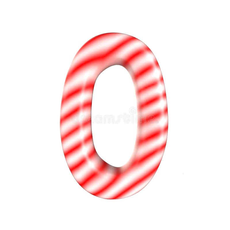 Sucrerie blanche rouge numéro 0 d'isolement sur le fond blanc images libres de droits