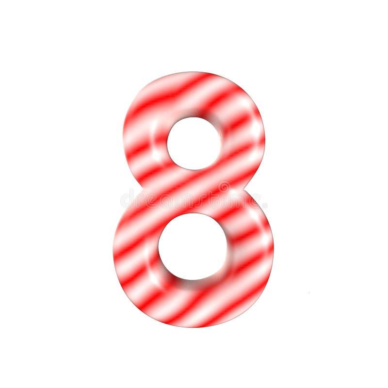 Sucrerie blanche rouge numéro 8 d'isolement sur le fond blanc photographie stock