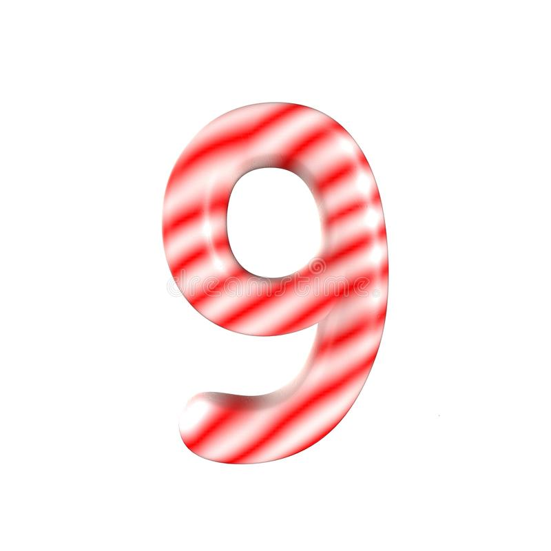 Sucrerie blanche rouge numéro 9 d'isolement sur le fond blanc photos libres de droits