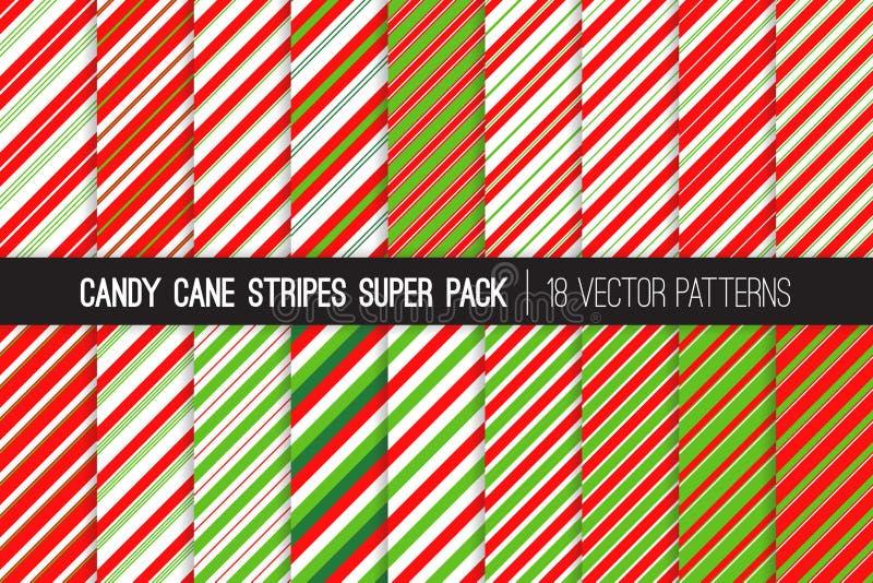 Sucrerie Cane Stripes Vector Patterns en rouge, le blanc et le vert de chaux illustration libre de droits